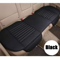 D-Lumina Back Seat Cover - Car Rear Seats Bottom Cushion, Auto Bench Protector, Black Breathable PU Leather, Bamboo Charcoal Filled, Universal for 4 Season (51.97 X 23.23 Inch)