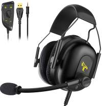 SOMIC G936N Gaming Headset for Xbox, PS4, Phone, Laptop: 7.1 Virtual(NO Drive) 50mm Surround Sound ENC Noise Reduction Ergonomics Design PUBG/LOL/Video Mode Headphone with Mic,3.5MM and USB Plug