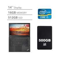Lenovo ThinkPad T470 14'' Full HD FHD (1920x1080) Business Laptop (Intel Core i5-6300U, 16GB DDR4 RAM, 512GB PCIe M.2 SSD) Type-C Thunderbolt 3, HDMI, Windows 10 Pro + IST 500GB Portable Hard Drive