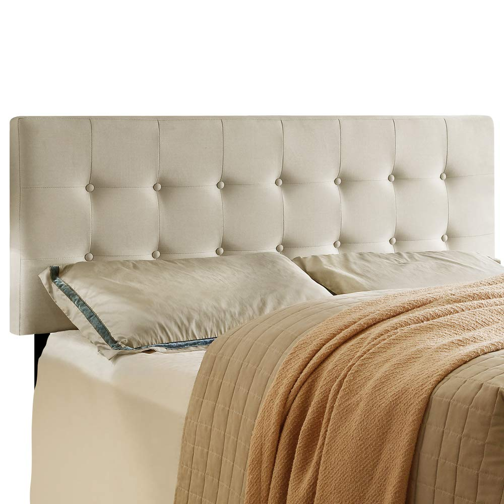 HOME BI Upholstered Tufted Button Linen Fabric Headboard Full/Queen Size, Beige