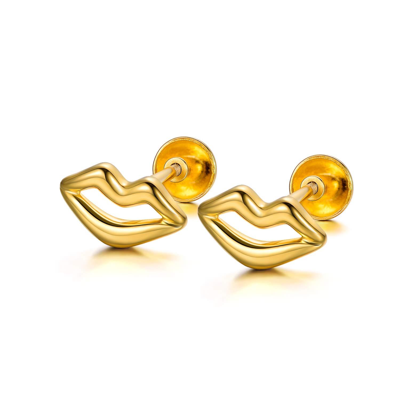 18K Real Gold Disc Stud Earrings Dainty Dot Stud Earrings Solid Gold Jewelry for Women,5mm