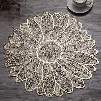 Candumy 15 Inches Round Golden Placemats Wipe Clean for Dinner Table, Heat Resistand PVC Flower Tablemats Home Decor Non Slip Place Mats Set of 4 (Sun Flower)