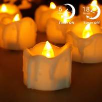 Advocator Wax Dripped Led Tealight Candles with Timer Flickering Votive Candles Battery Operated Candles for Halloween Christmas Festival Party Home Decoration,Pack of 12