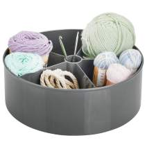 mDesign Deep Plastic Lazy Susan Turntable Storage Container - Divided Spinning Organizer for Craft, Sewing, Art, School Supplies in Home, Office, Classroom, Playroom or Studio - Charcoal Gray