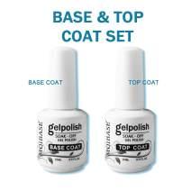 MOIBASE 2×15ml Base Coat No Wipe Top Coat Set for UV LED Gel Nail Polish LED Nail Lamp Big Capacity Full Size