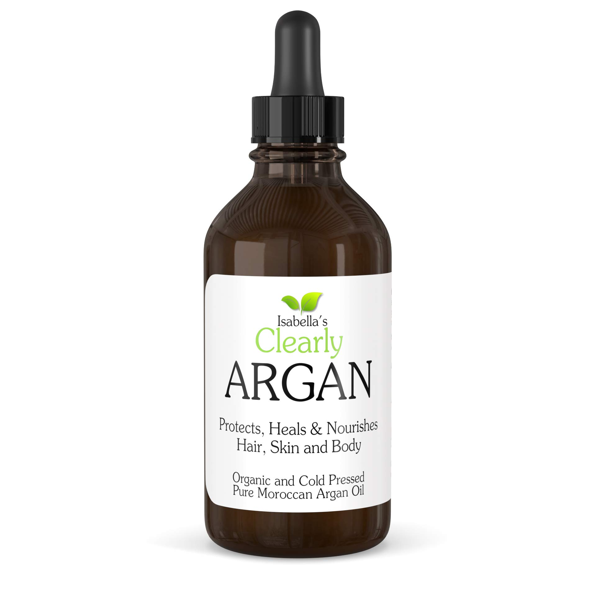 Clearly ARGAN, 100% Pure Organic Moroccan Argan Oil - Anti Aging Cold Pressed Natural Moisturizer for Hair, Skin, Body, Scalp, Nails. Healthy Hair Growth and Dry Skin Treatment (4 Oz)