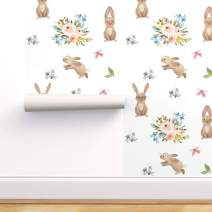 Spoonflower Peel and Stick Removable Wallpaper, Watercolor Bunnies Floral Easter Spring Flowers Rabbit Animal Print, Self-Adhesive Wallpaper 24in x 36in Roll