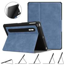 Fintie Case for iPad 9.7 2018 2017 / iPad Air 2 / iPad Air - [Corner Protection] Multi-Angle Viewing Rugged Soft TPU Back Cover with [Secure Pencil Holder] Auto Sleep/Wake, Rustic Blue