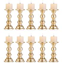 Nuptio Set of 10 Gold Metal Pillar Candle Holders, Wedding Centerpieces Candlestick Holders for 2 inches Candles Stand Decoration Ideal for Weddings, Special Events, Parties