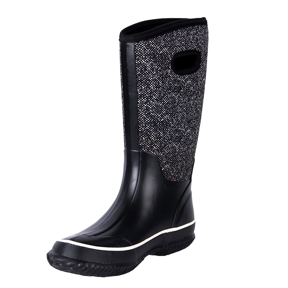 WTW Women's Rubber Neoprene Snow Boots Winter Warm Waterproof Insulated Barn Rain Boots for Ladies
