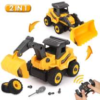 BeebeeRun Remote Control Excavator Toy - Take Apart Toys Truck, 2 in 1 RC Construction Vehicles - Excavator and Bulldozer Toys for Boys, Gift for 3 4 5 Year Old Boy & Kid