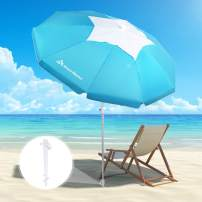 Brace Master 6.5ft Beach Umbrella with Sand Anchor - UV 50+ Hollowing Out Design with Tilt Aluminum Pole Beach Umbrella with Carry Bag for Outdoor Patio