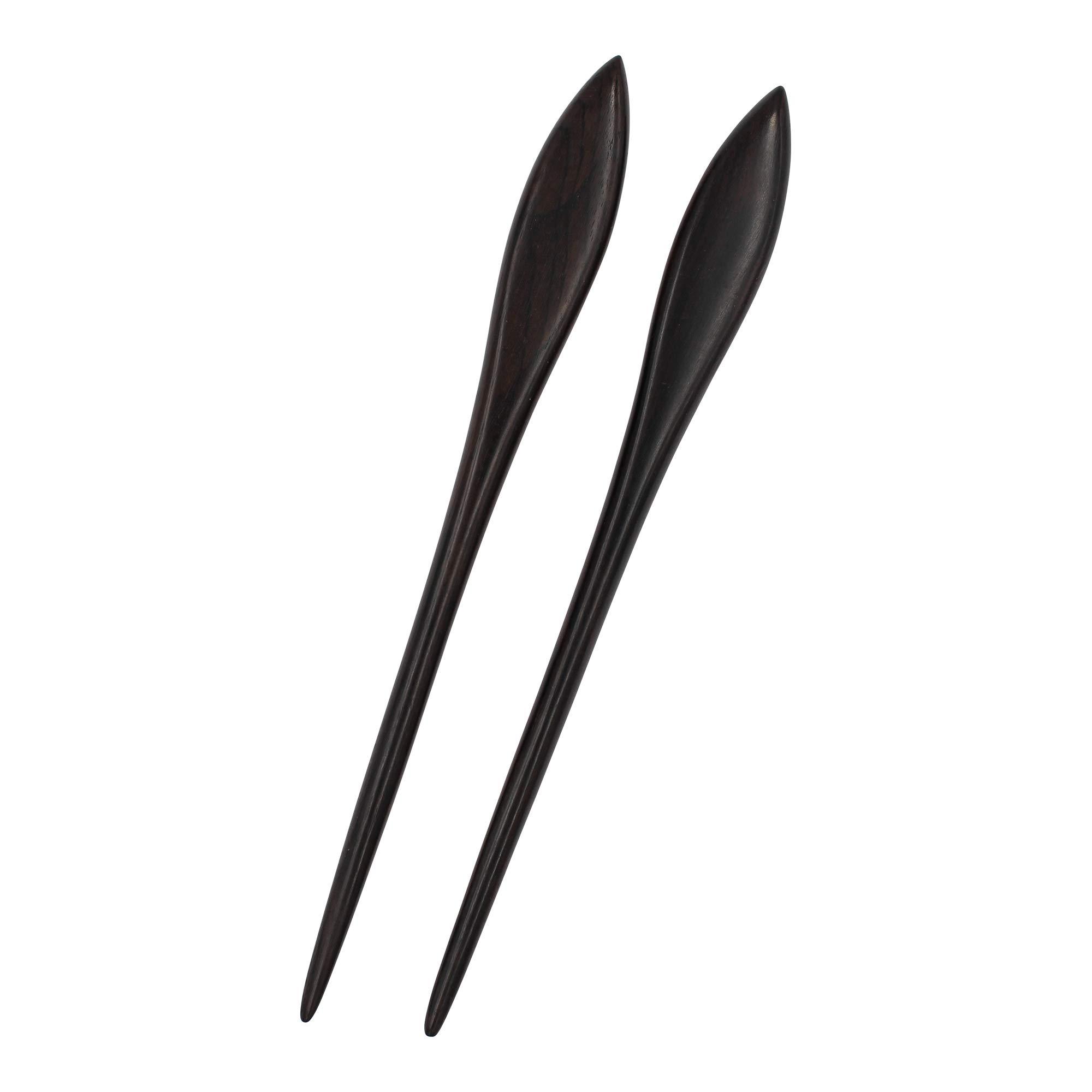 REAL SIC - Natural Sandalwood Hair Sticks for Women - Set of 2 - Sustainable Retro Boho Fashion Chopsticks/Wood Hair Pins for Long Hair (Paddle)