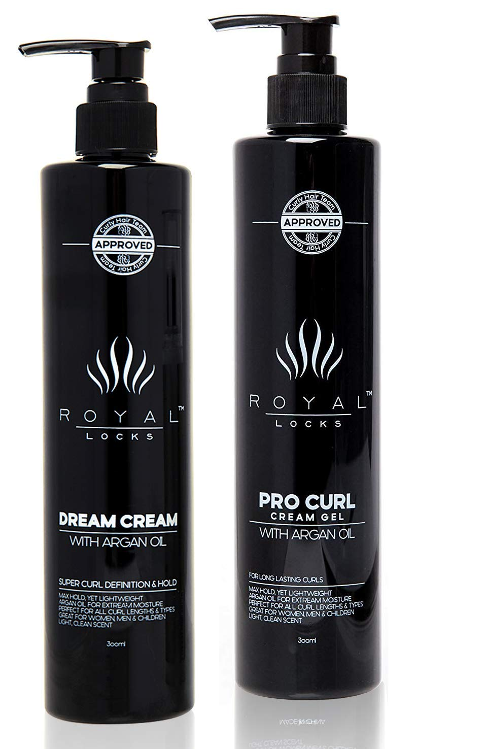 Royal Locks Pro Curl Cream Gel and Dream Cream   Defining Cream Gel Set for Definition, Strong Hold, Frizz Reduction of Curly and Wavy Hair   with Argan Oil   2 pack of 10 Oz ea