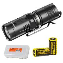 NITECORE MT10C 920 Lumen Multitask Tactical Flashlight with Red Light, 2x Rechargeable Batteries, and LumenTac Battery Organizer