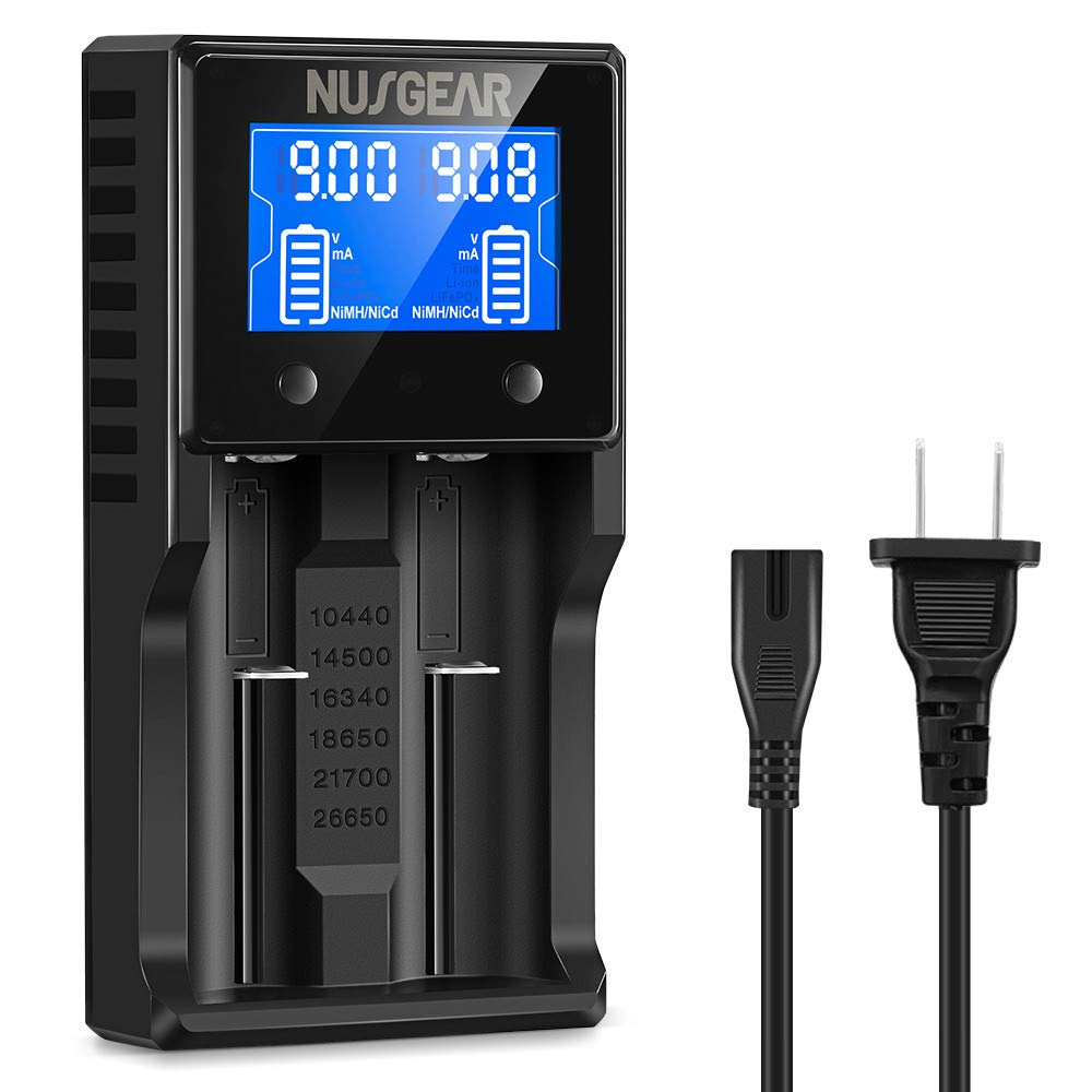 18650 Smart Battery Charger 2 Slot LCD Screen Universal Intelligent Charger for 20700, 26650, 18490 Li-ion IMR LiFePO4 AA AAA C Rechargeable Batteries