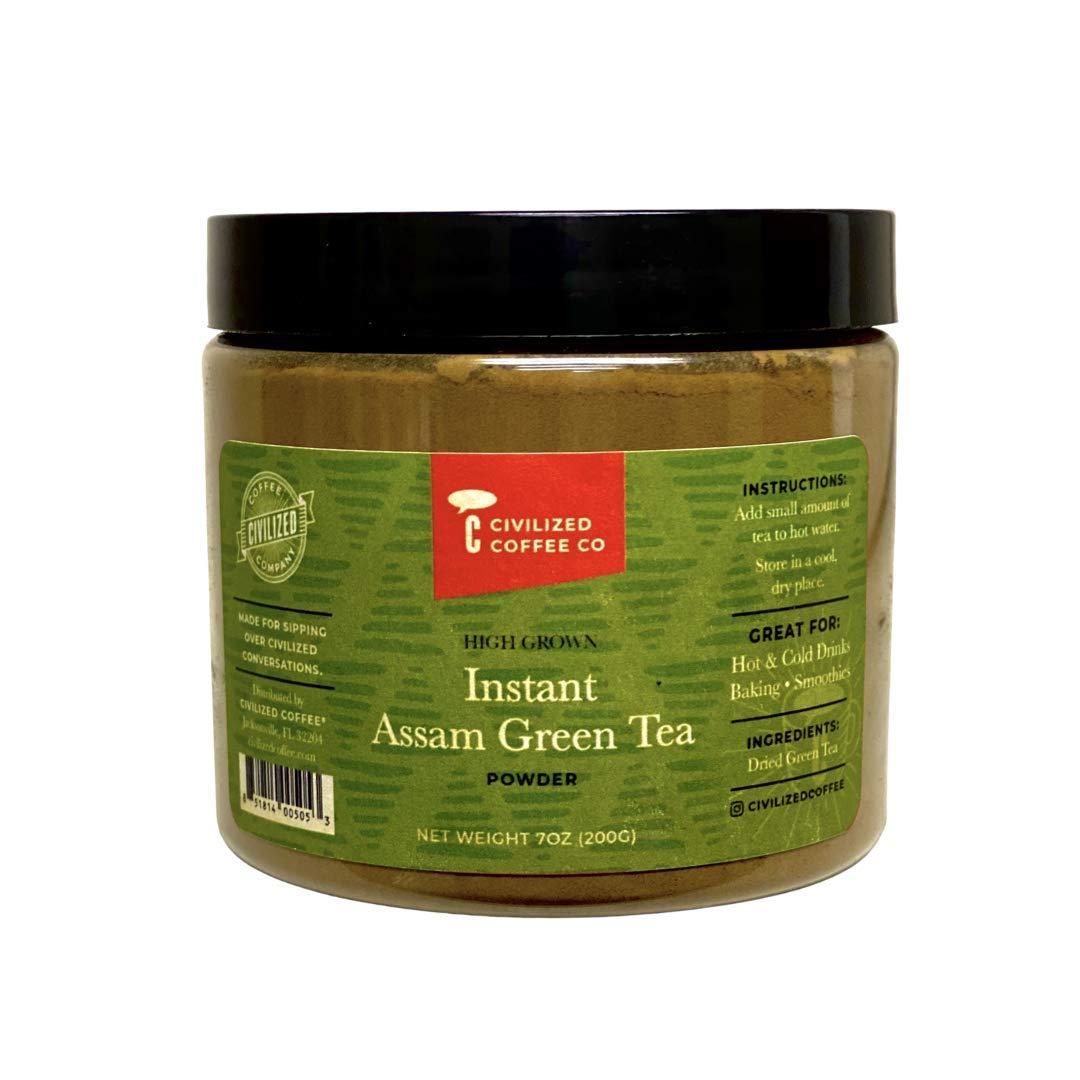 Civilized Coffee Instant Assam Green Tea Powder for Hot Tea, Iced Tea & Baking (7 oz)