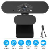 Webcam with Microphone,1080P Full HD Web Cam with Free Tripod,USB Camera Computer HD Streaming Webcam w/Mic, Wide Angle Lens & Large Sensor for PC Desktop &Laptop Video Calling,Recording Conferencing