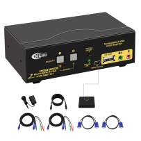CKLau 2 Port Dual Monitor KVM Switch HDMI + VGA with Audio, Microphone, USB 2.0 Hub and Cables Support 4Kx2K@30Hz