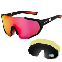 Polarized Sports Cycling Sunglasses UV Protection for Men Women, UV 400 with 3 Interchangeable Lenses Sunglasses, Lightweight Sports Glasses & Sport Goggles for Running Golf Fishing Baseball Driving
