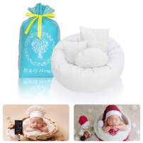 4PC Newborn Photo Props   Baby Photography Basket Pictures Infant Posing Props (1 Photo Donut and 3 Posing Pillows) Fits 0-3 Month