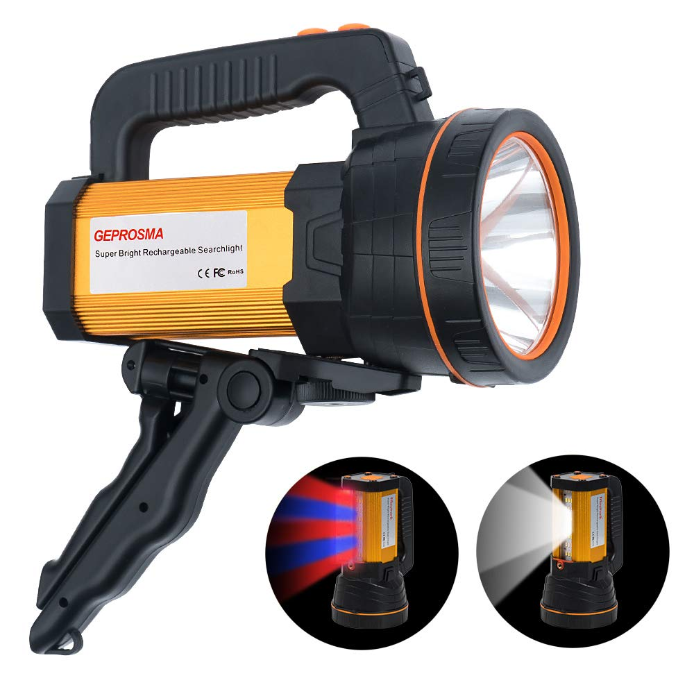 Super Bright CREE LED Searchlight Handheld Spotlight Flashlight USB Rechargeable High Lumens Large Battery 10000mah Powered Spot Lights Hand Held Outdoor Flood Torch Camping Waterproof Boat