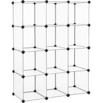 SONGMICS Cube Storage, 12-Cube Book Shelf Organizer Units, DIY Modular Closet Cabinet, Bookcase, Ideal for Living Room, Closet, Includes Rubber Mallet, 36.6 L x 12.2 W x 48.4 H Inches, White ULPC34L