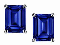 Star K Solid 14k Gold Emerald Cut 8x6mm Earrings Studs