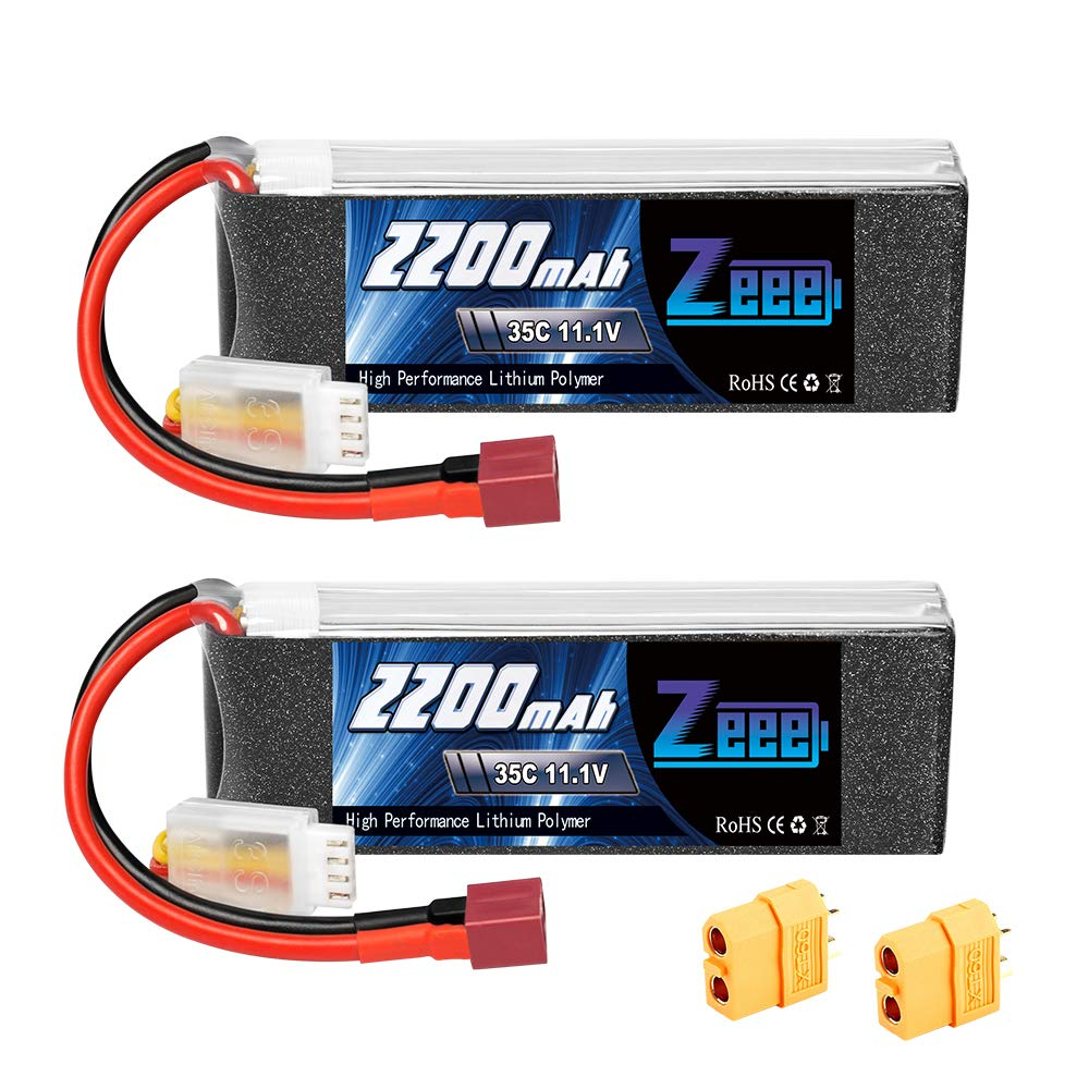 Zeee 2200mAh 11.1V 35C 3S LiPo Battery with Deans and XT60 Connector for DJI Airplane RC Quadcopter Helicopter Drone FPV (2 Pack)