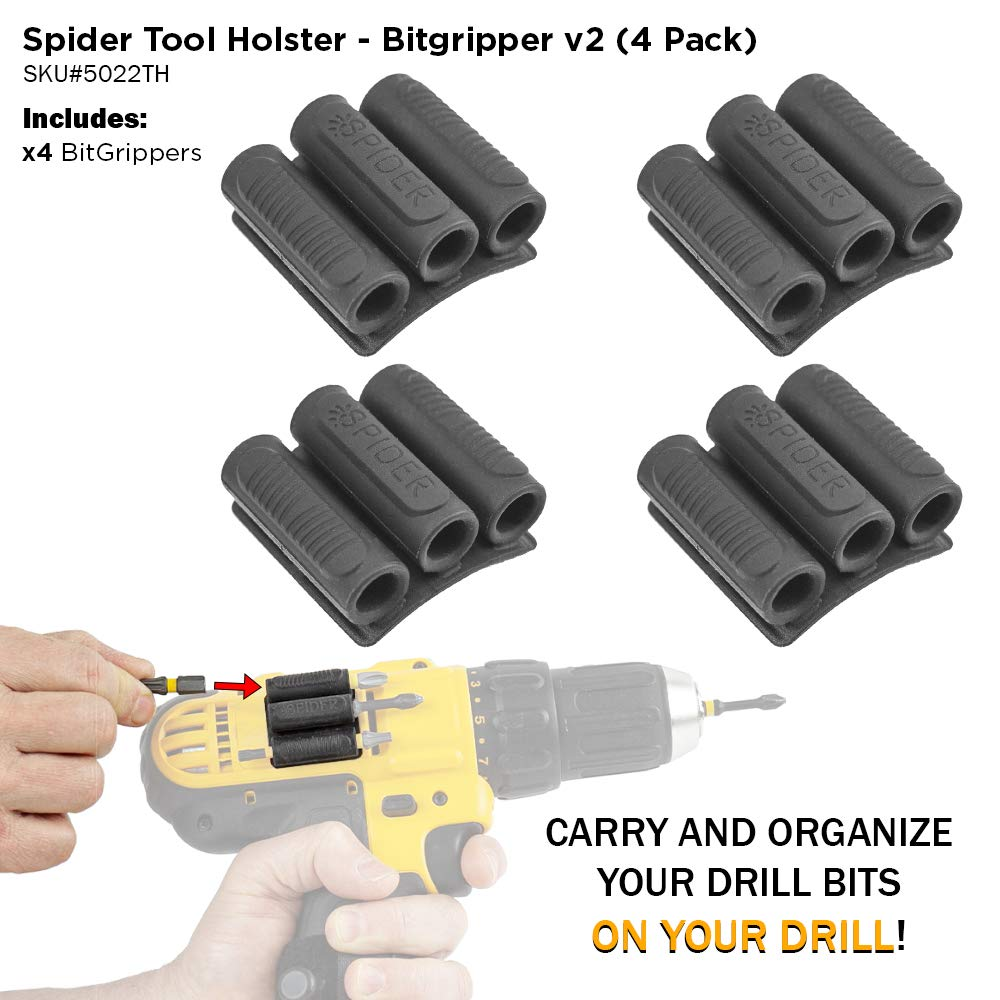 Spider Tool Holster BitGripper v2 - PACK OF FOUR - Organize and carry drill bits ON your power drill!