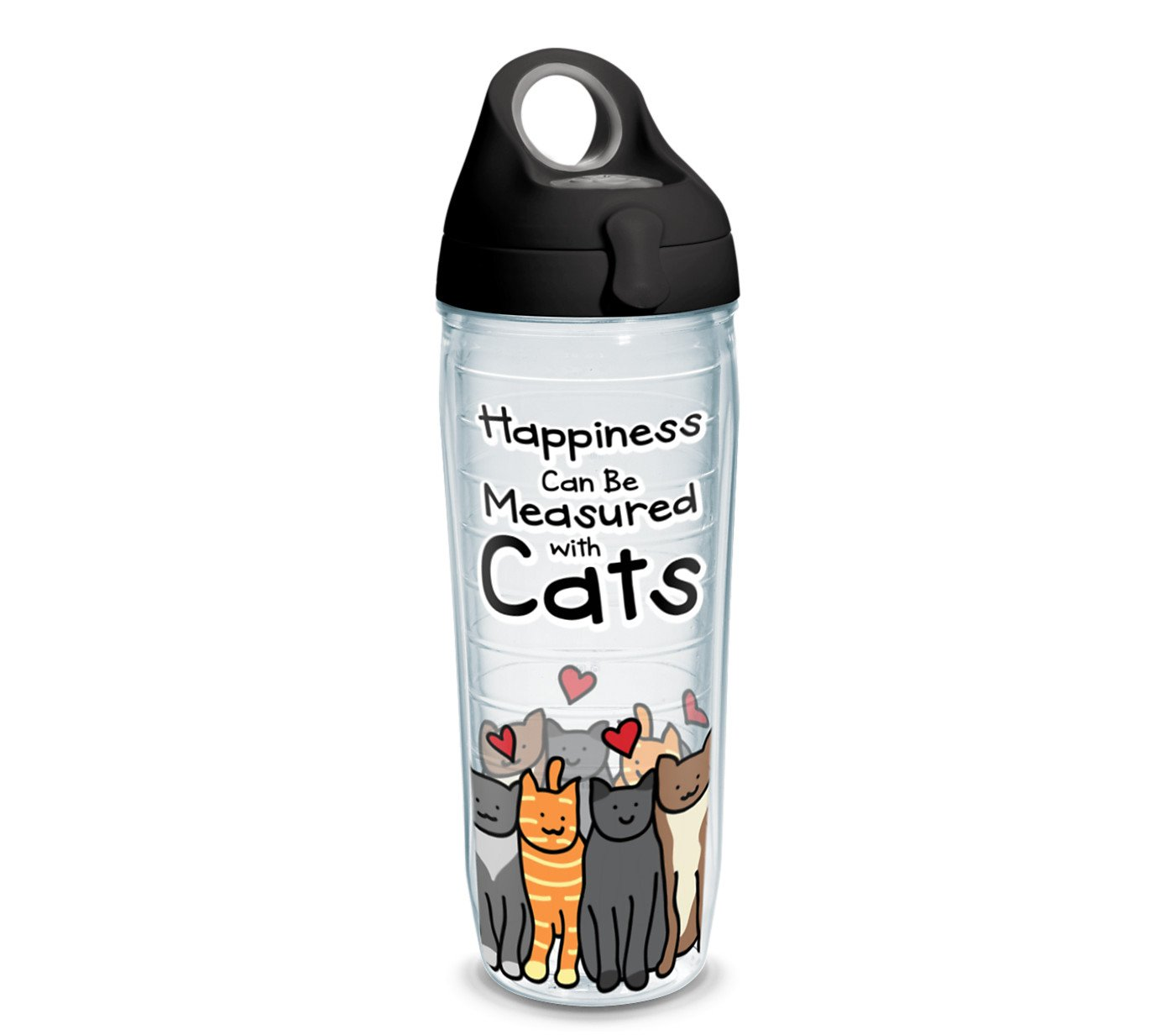 Tervis Project Paws Happiness Can Be Measured With Cats iHeartCats 24 oz Water Bottle with black lid, Clear