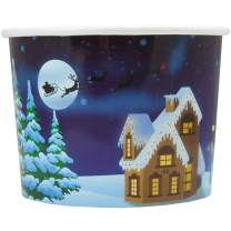 Christmas Themed Paper Dessert Cups - 12 oz Holiday Ice Cream Bowls - Santa Claus is Coming to Town - Frozen Dessert Supplies - 100 Count