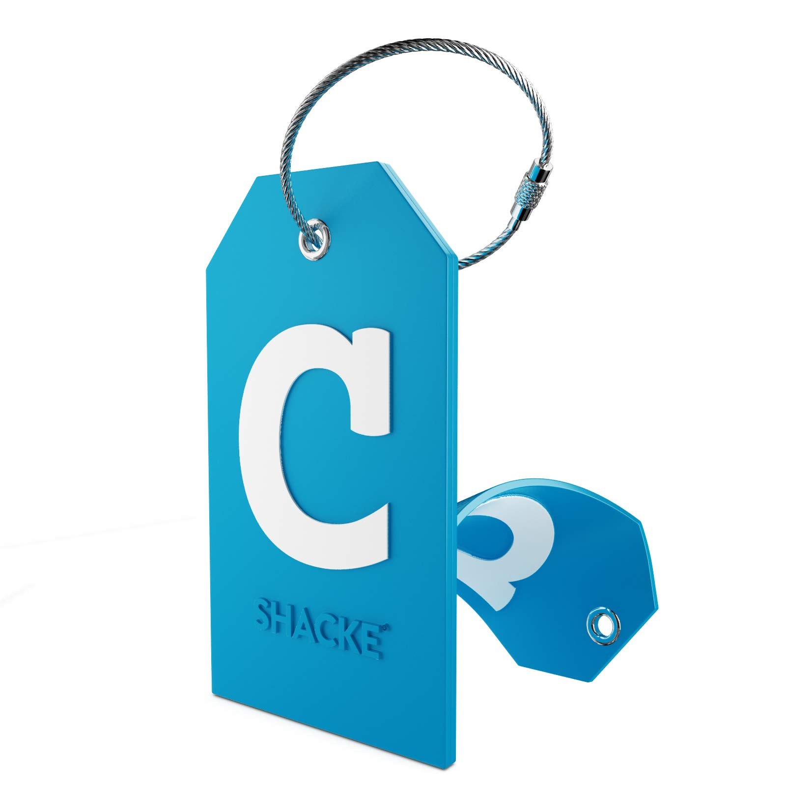 Initial Luggage Tag with Full Privacy Cover and Stainless Steel Loop (Aqua Teal)