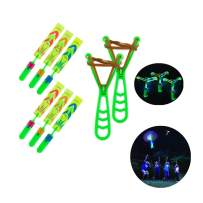 BAIVYLE Flying Toys,Rocket Slingshot Flying Copters for Kids Boys Girls Gifts Helicopters Copters Glow in The Dark for Indoor and Outdoor Game Party Favors (6pcs)