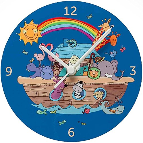 Colorful Kids Nursery Wall Clock fun children's room rainbow Noah's Ark Clock Battery operated silent 8 inch hand made in Jerusalem