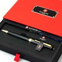 Free Engraving - Sotania Swiss Expert Black Ballpoint Pen, Medium Point, Roller pens, Groomsmen Gift, Free Custom Engraved Gifts for Men, Women