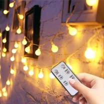 LED String Lights, 49ft 100 LEDs Globe String Lights Plug in Waterproof Extendable Fairy Lights with 8 Mode Remote Control Decoration for Indoor Outdoor Wedding Birthday Party, Warm White