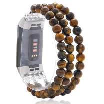 C&L Accessories Replacement Bands Compatible with Fitbit Charge 3 Charge 4, Unique Handmade Beaded Elastic Stretch Natural Tiger Eye Stone Bracelet Band for Any Occasion for Women (Brown Tiger Eye)