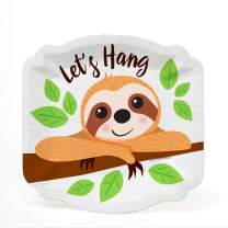 Big Dot of Happiness Let's Hang - Sloth - Baby Shower or Birthday Party Dessert Plates (16 Count)