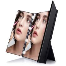 Zosam Lighted Makeup Mirror Travel Vanity Mirror, Tri-Fold Cosmetic Mirror, Portable and Compact with Adjustable Stand, 8 LED Natural Lights, Battery Included