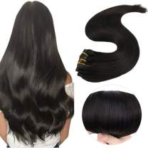 Easyouth Remy Clip Extensions Human Hair Real Human Hair Extensions Solid Color 1B Off Black 22inches 100g, Full Head Hair Extensions for Women Clip in Human Hair Extensions