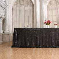 Eternal Beauty 60'' X 120'' Black Sequin Tablecloth Wedding Banquet Party Rectangle Table Cover