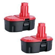 Biswaye 2Pack DC9096 18V Replacement Battery for Dewalt 18-Volt Cordless Power Tools Battery Pack DC9099 DC9098 DW9099 DE9096 DE9098 DW9095 DW9096 DW9098 DE9503 DE9039 DE9095, Ni-CD
