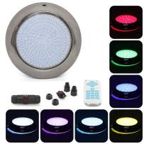 tunez Epoxy Resin Filled 18W LED Underwater Swimming Pool Light 18 Keys New Advance Remote Control, Stainless Steel, RGB Colour Changing Light Wall Surface Mounted 12V AC Power 1.5 Meter Wire