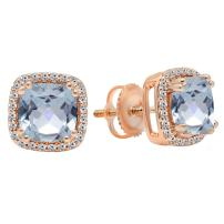 Dazzlingrock Collection 14K Ladies Halo Style Stud Earrings, Rose Gold