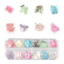 12 Colors Nail Art Holographic Glitter Shell Sequins Iridescent Mermaid Flakes Sticker Manicure Nail Art Supplies(BH)