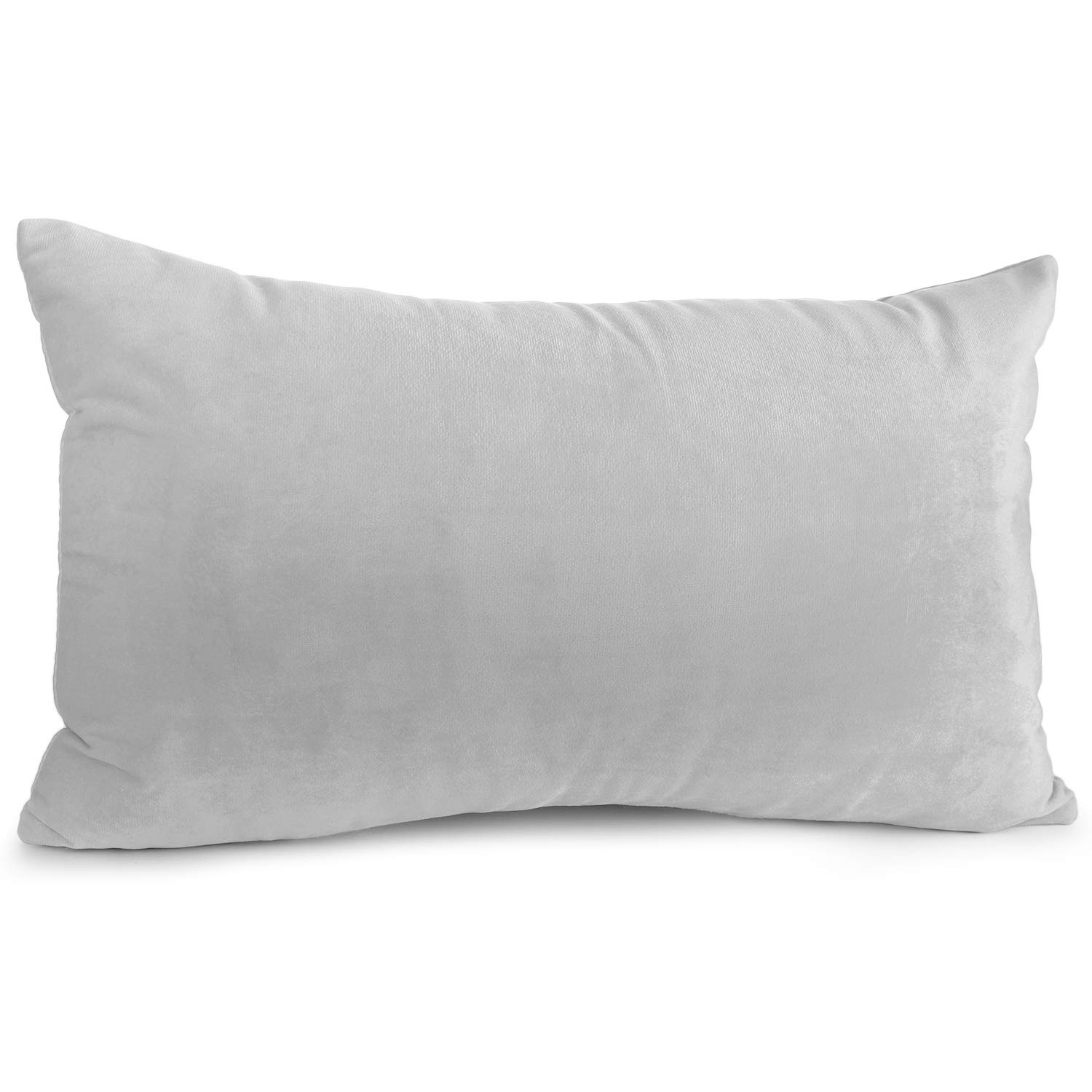 """Nestl Bedding Throw Pillow Cover 12"""" x 20"""" Soft Square Decorative Throw Pillow Covers Cozy Velvet Cushion Case for Sofa Couch Bedroom - Light Gray"""