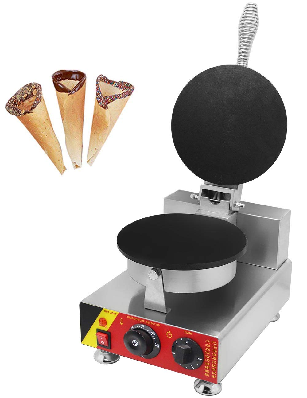 CGOLDENWALL NP-692 Commercial Ice Cream Cone Maker Non-stick Egg Roll Machine Egg Crepes Waffle Making Machine Egg-biscuit-roll Baker (110V)
