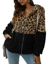 Womens Leopard Print Hoodie Coat Sherpa Fall Long Sleeve Zip Up Fuzzy Jacket Tops