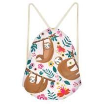 Amzbeauty Sloth Drawstring Bag Backpack Sport Gym Travel Sack Bag Rucksack for Women Man Boys Girls Kids